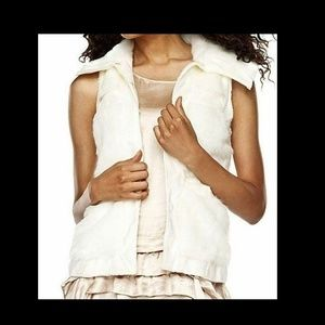Rachel Zoe Faux Fur Vest with Hook & Eye Closure